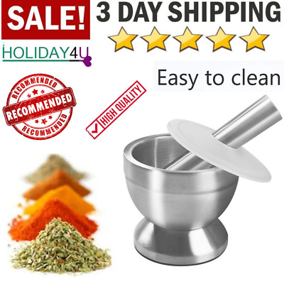 Mortar And Pestle Stainless Steel Pestal Set Grind Food Herbs Spice Heavy Duty