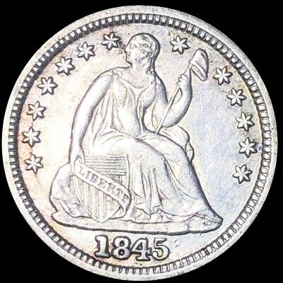1845 Seated Half Dime NEARLY UNCIRCULATED Liberty Silver ms bu Philadelphia NR!
