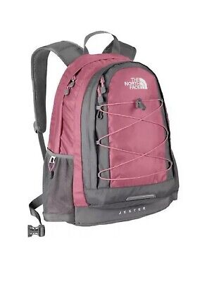 North Face Jester Backpack Women College Bag Book Bag Pink Gray EUC