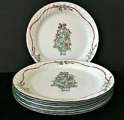 CORELLE® Callaway Holiday Christmas Dinner Plates set of 8  Ivy Tree ribbon card