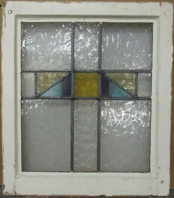 "OLD ENGLISH LEADED STAINED GLASS WINDOW Pretty Geometric Cross 18"" x 20.5"""