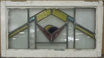 "OLD ENGLISH LEADED STAINED GLASS WINDOW TRANSOM Stunning Geometric 29.5"" x 16.5"""