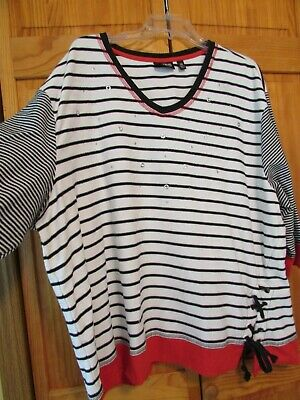Ladies plus size 3X knit top, white/red/blue striped/drawstring accent front