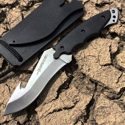 "7"" Full Tang Skinner Hunting Knife Camping Outdoor Tactical Gut Hook Hard Sheat"