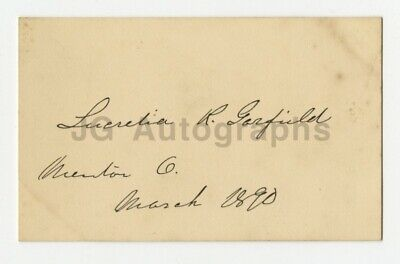 Lucretia Garfield - U.S. First Lady - Authentic Autographed Card Dated 1890