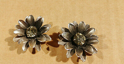 Antique Vintage Coro Signed Sterling Silver Lotus Flower Clip-on Earrings
