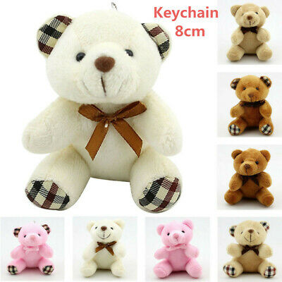 Small Mini Teddy Bear Stuffed Animal Doll Plush Soft Toy Kids Gift Keychain Fast
