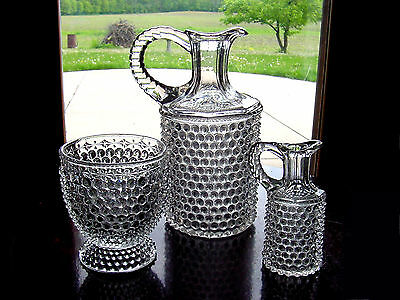 "ViNTaGe CRySTaL CLeAR HobNaiL GLaSs 9 1/4"" Decanter Jug ~ Cruet & Spooner Vase"