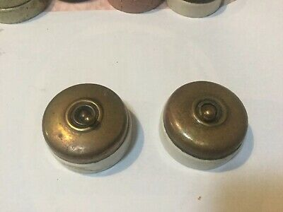 Vintage Brass And Ceramic Vitreous Light Switches