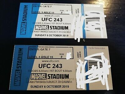 50% OFF!!! BELOW COST UFC 243 Tickets. MUST SELL! Hard Copy, Not PDF