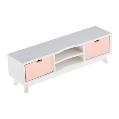1/12 Miniature Wooden Modern Style TV Stand Cabinet for Dollhouse Items Pink