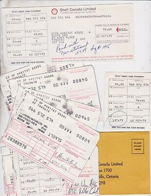 1975  Shell Oiil  Canada  Credit Card / Statement + Charge Slips / Lot Of 11