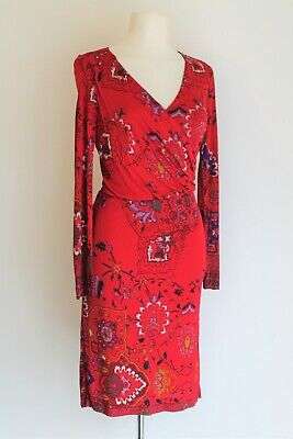 Etro Jersey Print Dress Red/Purple Mock Wrap Vintage Mini Dress Size It 44 Uk 12