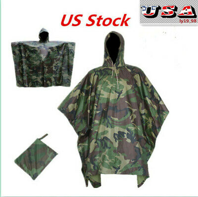 US Army Hooded Ripstop Waterproof Camo Poncho Military Hunting Camping Hiking