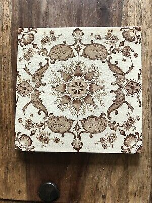 Beautiful English Victorian Antique Tile In Ivory & Brown Transfer Design
