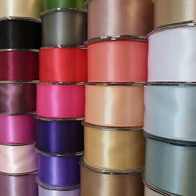Premium Quality Double Sided Satin Ribbon 50mm Wide Solid Plain Cut Per 1 Metre