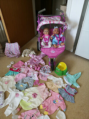 Baby Born,Annabell Dolls Bundle By Zapf,Twin pushchair,clothes,dress,accessories