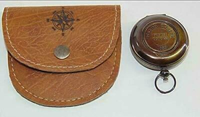Brass Nautical 1885 London -Pocket Push Button Antique Compass With Leather Case