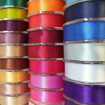 Premium Quality Double Sided Satin Ribbon 25mm Wide Solid Plain Cut Per 1 Metre