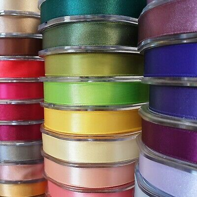 Premium Quality Double Sided Satin Ribbon 15mm Wide Solid Plain Cut Per 1 Metre