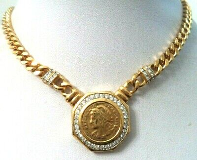 "Vintage Estate Hi End *Couture* French Faux Coin Rhinestone 17.5"" Necklace G815P"