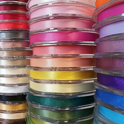 Premium Quality Double Sided Satin Ribbon 10mm Wide Solid Plain Cut Per 1 Metre