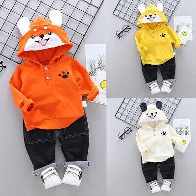 Toddler Kids Baby Boys Hooded Animal Cartoon Sweatshirt+Pants Outfits Clothes
