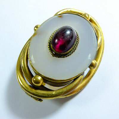 Beautiful Victorian Pinchbeck Gilt,Chalcedony Agate & Ruby Paste Cabochon Brooch