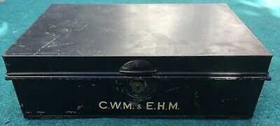 Antique Vintage Metal Document/Deed Box Black Metal Storage Tin. NO KEY