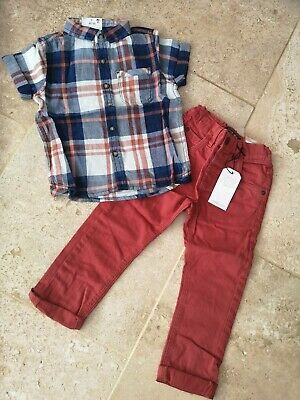Bnwt Next Rust Jeans And Matching Shirt Set Age 2-3