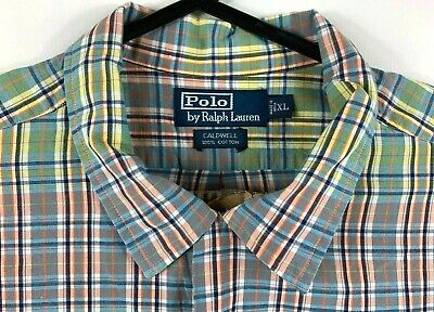 VTG Mens XL Polo Ralph Lauren Caldwell Multi-Colour Button Up Shirt Short Sleeve