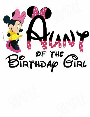 Minnie Mouse Aunt of the Birthday Girl iron on rhinestone transfer patch