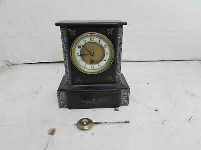 Antique Black Slate & Marble Mantel Clock by Konkurrenz Germany, Fully Running