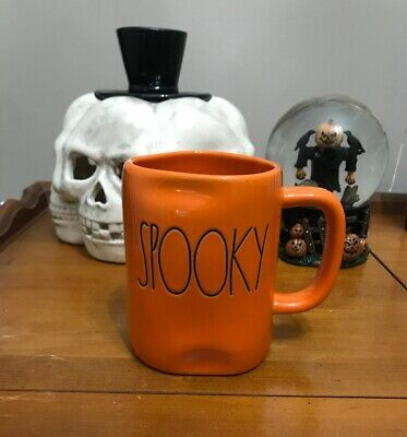 "New Rae Dunn Halloween ""SPOOKY""  Orange Mug By Magenta VHTF Rare"
