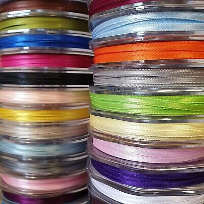 Premium Quality Double Sided Satin Ribbon 3mm Wide Solid Plain Cut Per 1 Metre