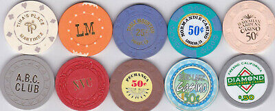 10 Different 10, 25 & 50 Cent Casino Chips From California Card Rooms & Casinos