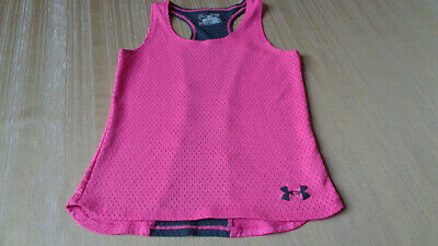 Under Armour Girls Neon Pink & Gray Mesh Racerback Tank Top YSM Youth Small