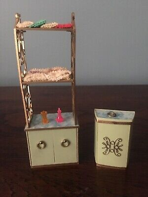 Vtg Dollhouse Furniture Ideal Petite Princess Patti Bathroom Towel Rack & Hamper