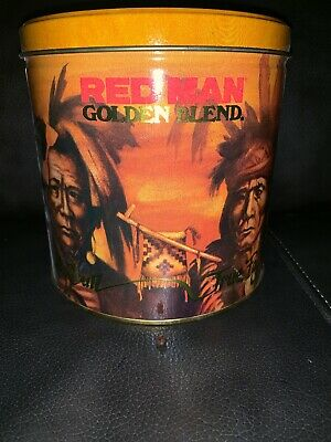 Red Man Tobacco Indian Chief 1988 Commemorative Metal Tin Sitting Bull Golden