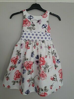 NEXT Girls Summer Occasion Dress Floral Design in White, Pink and Purple, Age 7