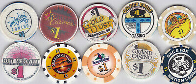 10 Different $1 Casino Chips From Casinos Around The U.s.a.-Various Locations