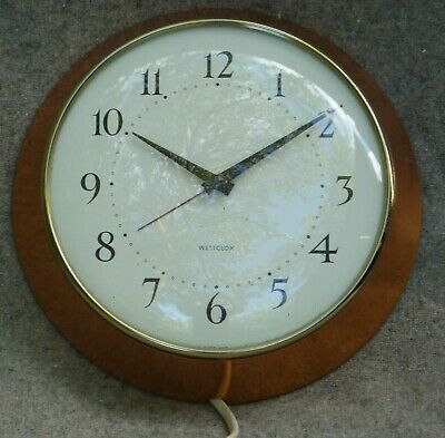 Vintage Westclox Mains Electric Wall Clock Copper Surround Working 8½ inches