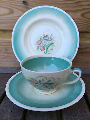 Vintage Art Deco SUSIE COOPER Trio Dresden Spray BURSLEM Porcelain Tea Set 20s