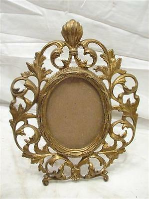 Cast Iron Brass Finish Victorian Mirror Picture Stand Up Photo Frame Ornate