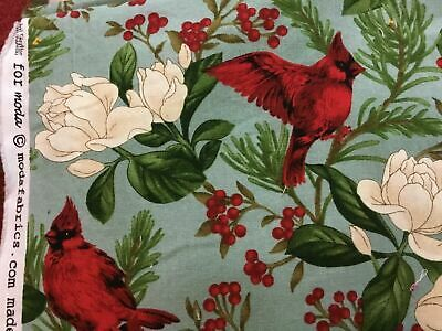"100% Cotton quilt fabric Moda Winter Cardinals Holiday print OOP (36""x 44"") 1 YD"