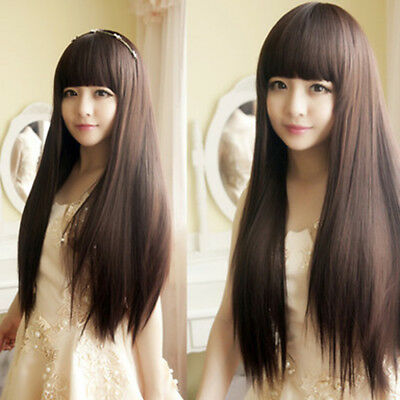 Perruques 60CM Longues Raides Cheveux Cosplay Party Cosplay Femmes