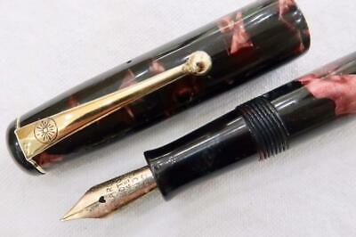 ONOTO THE PEN No.14 DE LA RUE, FOUNTAIN PEN, BURGUNDY MARBLED LEVER FILL C1930's