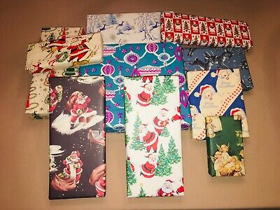 10 Vtg Christmas Wrapping Paper Gift Wrap Packages For Display Cute Santa Deer