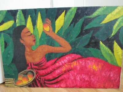 Beautiful Contempory Oil Painting on Canvas - Colored Lady with Fruit - Foliage