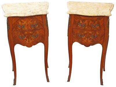 Antique quality pair of French inlaid marquetry marble bedside tables cupboards